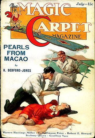 """H. Bedford-Jones - Bedford-Jones's novelette """"Pearls from Macao"""" took the cover of the July 1933 issue of Magic Carpet"""