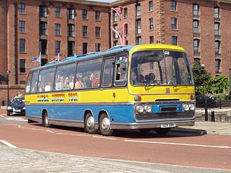 Magical Mystery Tour (film) - A coach of the same model used in the film, painted in Magical Mystery Tour livery, in Liverpool