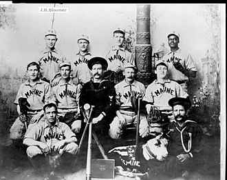1898 in baseball - USS Maine baseball team, 1898, shortly after winning the Navy baseball championship. The entire team was killed save one in February 1898.