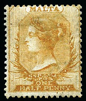 Postage stamps and postal history of Malta - A half penny stamp of Malta from 1860.