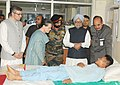 Manmohan Singh meeting the injured army personnel, at 92 Base Hospital, Srinagar in Jammu and Kashmir. The Chairperson, National Advisory Council, Smt. Sonia Gandhi, the Union Minister for Health and Family Welfare.jpg