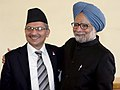 Manmohan Singh with the Prime Minister of Nepal, Dr. Baburam Bhattarai, in a bilateral meeting, on the sidelines of the 66th Session of the United Nations General Assembly, in New York on September 24, 2011.jpg