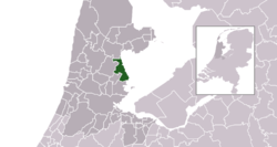 Highlighted position of Edam-Volendam in a municipal map of North Holland