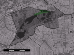 The town centre (dark green) and the statistical district (light green) of Noorden in the municipality of Nieuwkoop.