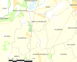 Mapa obce Marcilly-en-Beauce