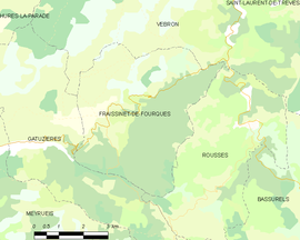 Mapa obce Fraissinet-de-Fourques