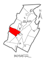 Map of Blair County, Pennsylvania highlighting Allegheny Township