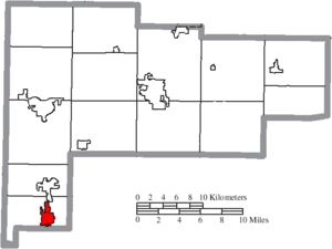 Minster, Ohio - Image: Map of Auglaize County Ohio Highlighting Minster Village