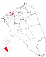 Beverly wyróżnione w hrabstwie Burlington.  Wstawiona mapa: hrabstwo Burlington wyróżnione w stanie New Jersey.