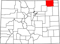 Map of Colorado highlighting Logan County