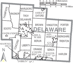 Map of Delaware County Ohio With Municipal and Township Labels.PNG