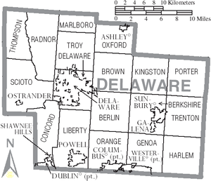 Delaware County, Ohio - Map of Delaware County, Ohio with Municipal and Township Labels