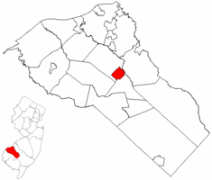 Pitman highlighted in Gloucester County. Inset map: Gloucester County highlighted in the State of New Jersey.