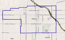 Map of the Hollywood neighborhood of Los Angeles, as delineated by the Los Angeles Times