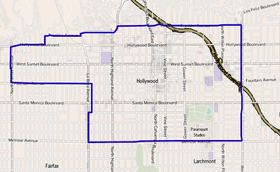 Map of Hollywood district, Los Angeles, California.png