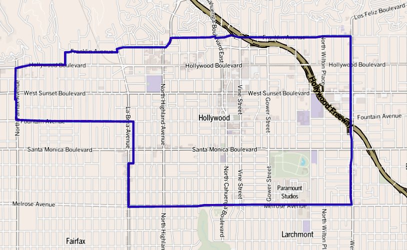 Map of the Hollywood neighborhood of Los Angeles as delineated by the Los Angeles Times