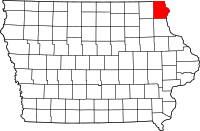 Map of Iowa highlighting Allamakee County