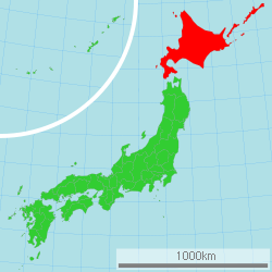 Map of Japan with Hokkaidō highlighted