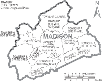 Madison County, North Carolina - Map of Madison County, North Carolina With Municipal and Township Labels
