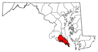 Map of Maryland highlighting Saint Mary's County.png