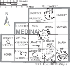 Map of Medina County Ohio With Municipal and Township Labels.PNG