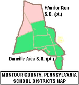 Derry Township, Montour County, Pennsylvania - Map of Montour County, Pennsylvania public school districts showing Danville Area School District