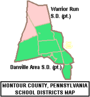 Danville Area School District - Image: Map of Montour County Pennsylvania School Districts