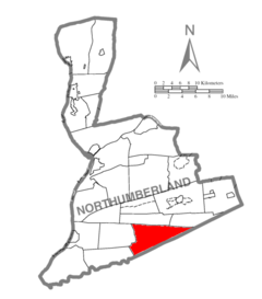 Map of Northumberland County Pennsylvania Highlighting Upper Mahanoy Township.PNG