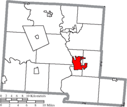 Location of Circleville in Pickaway County