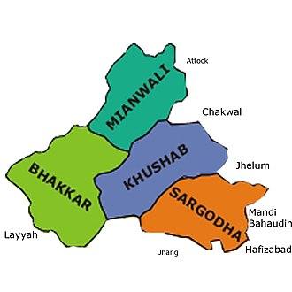 Sargodha Division - Image: Map of Sargodha Division