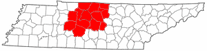 Nashville metropolitan area - Image: Map of Tennessee highlighting Metro Nashville
