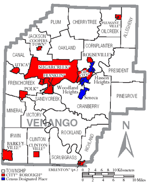 Map of Venango County Pennsylvania With Municipal and Township Labels.png