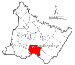 Map of Westmoreland County, Pennsylvania Highlighting Mount Pleasant Township.PNG