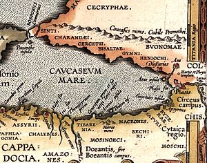 Tibareni - Tibarenia in a map of the voyage of the Argonauts by Abraham Ortelius, 1624