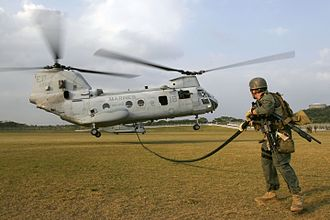 VMM-265 - A CH-46E from HMM-265 training at Camp Hansen on Okinawa on January 31, 2007.