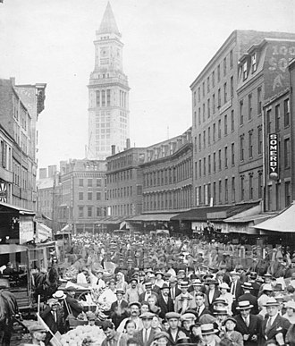 Haymarket - Boston - 1921 photo of Blackstone Street, looking south towards the Custom House Tower
