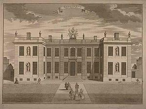 Marlborough House - In its original form Marlborough House had just two storeys. This illustration of c.1750 shows the garden front.