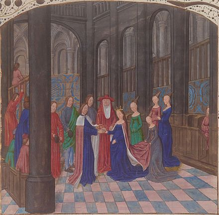 Illuminated miniature depicting the marriage of Edward IV and Elizabeth Woodville, Anciennes Chroniques d'Angleterre by Jean de Wavrin, 15th century Marriage Edward IV Elizabeth Woodville miniature Wavrin Anciennes Chroniques d'Angleterre Francais 85 f109.jpeg