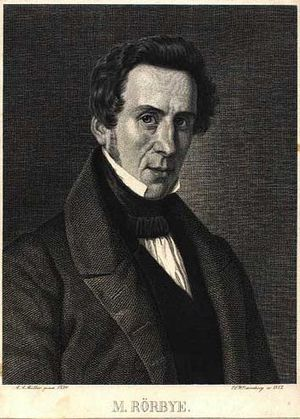 Martinus Rørbye - Martin Roerbye, engraving by Erling Eckersberg (1852)
