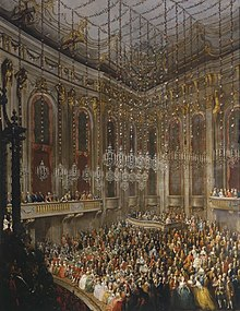 The Arrival of Isabella of Parma on the Occasion of Her Wedding to Joseph II, 1760. Painting by Martin van Meytens. (Source: Wikimedia)