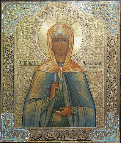 Православная икона. Святая Мария Магдалина изображена держащей сосуд с миром в руках как жена-мироносица