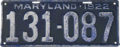 Maryland license plate, 1922.png