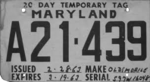 Maryland temporary tag, Oldsmobile (March 1963).png