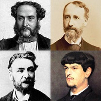 Paul Dukas - Dukas's teachers, Georges Mathias (top l.), Théodore Dubois (top r.) and Ernest Guiraud (bottom l.), and Dukas's fellow student Claude Debussy