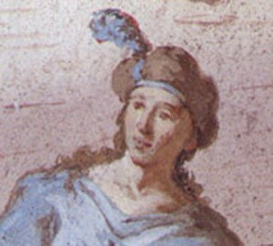 Mattia Bortoloni - Self-portrait at age 21.  Detail from his fresco cycle at Villa Cornaro