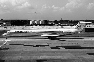 Inex-Adria Aviopromet Flight 1308 - YU-ANA, the aircraft involved in the accident, seen at Manchester Airport in September 1981.