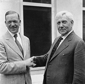 Charles L. McNary - Senator McNary and Representative Gilbert N. Haugen, cosponsors of the McNary–Haugen Farm Relief Bill, shake hands at the White House in 1929.