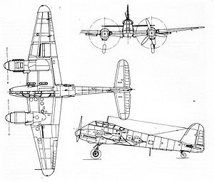 Me 210 3-view drawing