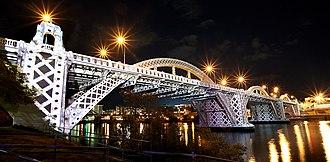 """William Jolly Bridge - Bridge lightshow """"Meccano"""", 2010"""
