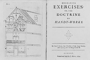 Joseph Moxon - Frontispiece and title page of Joseph Moxon's Mechanick Exercises, 1694